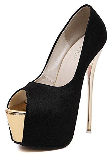 YE Damen Extreme High Heels Plateau Stiletto Pumps mit 16cm Absatz Party Schuhe Schwarz
