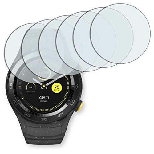 "6 x protectores pantalla Golebo para Huawei Watch 2 Classic. Lámina protectora adhesiva invisible ""Crystal Clear"". Fabricado en Alemania."