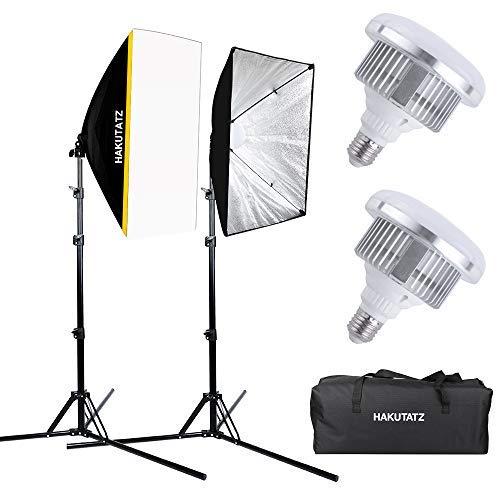 LED Studiolicht Softbox Set, Hakutatz Fotostudio Set mit 2X 35W LED Fotolicht, 2X 50 * 70cm Softboxen, 5400K Dauerlicht für Fotografie YouTube Beleuchtung