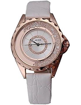 Kezzi Damen Armbanduhr Strass Quicksand Kristalle Leder Analog Quarz rosegold weiss