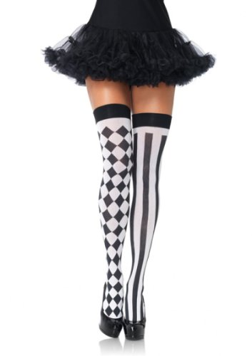 Karneval Fasching Damen halterlose Strümpfe Harlequin schwarz weiss Leg Avenue Einheitsgröße ca. 38 bis 40 (Farbige Strümpfe Halterlose)