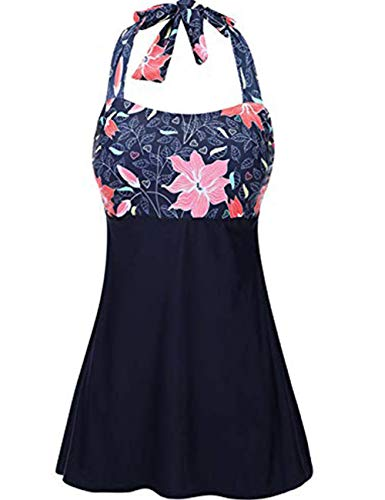 FeelinGirl Damen Vintage Badeanzug Einteiliger 50er Retro Halfter Gestreiften L Violett