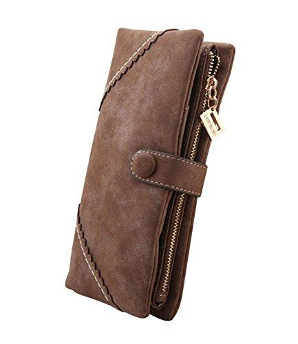 DNFC Geldbörse Damen Portemonnaie Lang Portmonee Elegant Clutch Große Kapazität Handtasche Geldbeutel PU Leder Geldtasche mit Reißverschluss und Druckknopf für Frauen (Kaffeebraun)