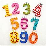 JEF Wooden Fridge Magnet Numbers 0-9 Kids Educational Toy Baby Gift MultiColor