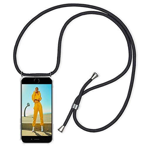 CreWin Handykette Hülle Kompatibel mit iPhone 8 iPhone 7 Handyhülle mit Band Lanyard Schwarz Kordel Schnur zum Umhängen Transparent Weiche Silikon Bumper Durchsichtig Schutzhülle Rückschale Case