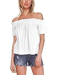 ISASSY Damen Schulterfreies Oberteil Sommer Bluse T-Shirt Party Shirt Tops