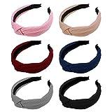 Frcolor 6 Stück Turban Stirnband Kreuz Knoten Haarband Breite Haarreifen Kopfbedeckung für Frauen Mädchen