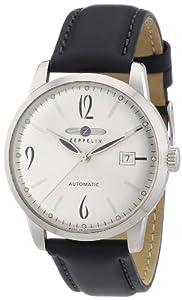 Zeppelin Flatline - Reloj analógico de caballero automático con correa de piel negra de Zeppelin