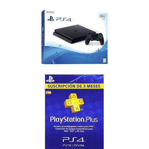 PlayStation 4 Slim (PS4) - Consola de 500 GB + PSN Plus Tarjeta 90 Días