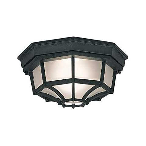 Designers Fountain 2067-BK Builder Cast Aluminum Family 1-Light Exterior Flush Mount, Black Finish with Frosted Glass by Designers Fountain