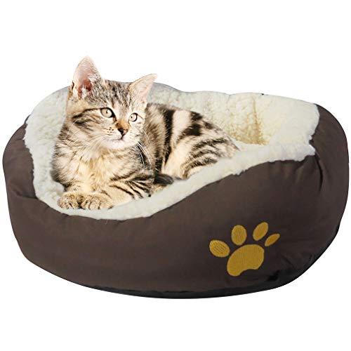 Evelots kleines rundes Haustierkörbchen für Katzen und Hunde,warm,braun