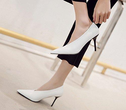 GTVERNH-in primavera scarpe bianche tacchi a spillo nightclub scarpe sexy semplice stile corrispondono tutti superficiale bocca scarpa,39 Thirty-seven