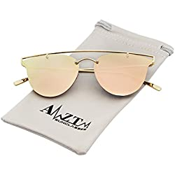 AMZTM Doppelbrücke polarisiert Metall Pilotenbrille Verspiegelt Rosa Linsen Damen Halbrand Aviator Katzenauge Sonnenbrille