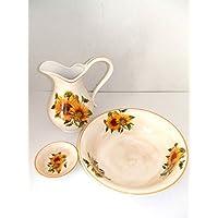 arterameferro Juego Toilette de cerámica para Lavabo baño Antiguo Girasoles - Muebles de Dormitorio precios