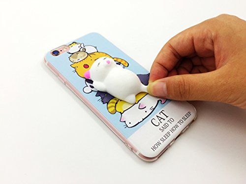 Squishy 3D Animal Cat Chat iPhone 7 Coque, Cute Stress Silicone Fun Case for iPhone 7 (Color-B) Color-E