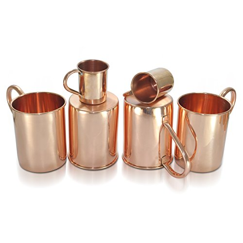 Dungri India High Quality Pure Copper Moscow Mule Mug,Set of 4 by Dungri India Craft
