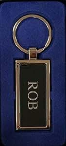ROB Silber Metall Key Ring Graviert und in schöner Geschenkbox, von Sterling effectz