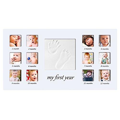 PChero primer año de bebé para fotos marco de recuerdo de bebé con bebé Handprint y huella Marco para fotos memories-hanging y mesa de pie doble uso (precio: 35,99€)