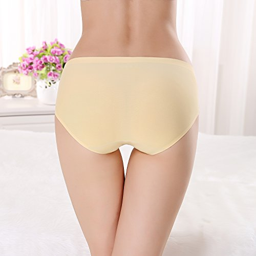FZmix Top Quality Summer Style Women Sexy Panties Thin Seamless Briefs Ice Silk Underwear Ladies Intimates Calcinha Plus Size Yellow