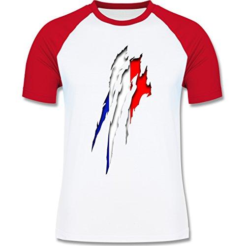 Länder - Frankreich Krallenspuren - zweifarbiges Baseballshirt für Männer Weiß/Rot