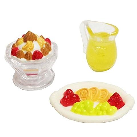 MagiDeal 1:12 Ice Cream Juice and Fruit On A Plate Dollhouse Miniature Food Accessory