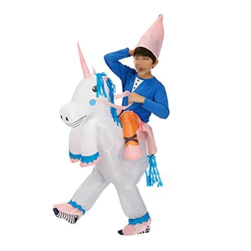 Blow Einhorn Kostüm Up - Happyyami Kinder Einhorn aufblasbares Kostüm Blow Up Kostüm Unisex aufblasbares Kostüm für Einhorn Geburtstagsfeier Cosplay Party Favors 120-140cm