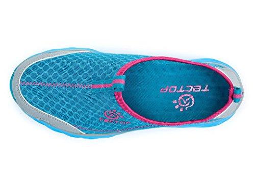Panegy Chaussons pour Sport Aquatique Femme/Fille Chaussures de bain Chaussons d'eau Plage Ruisseau Montagne Promenade Semelles Slip-on Séchage rapide 36-40 Magenta/Gris/Bleu Bleu