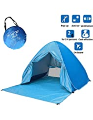 Voniry Automatic Portable Pop Up Beach Tent Well-ventilated Outdoor Anti UV Sun Shelter with Zipper Door for Kids and Family in Beach Garden Camping Fishing Picnic Hiking (2~4 person)