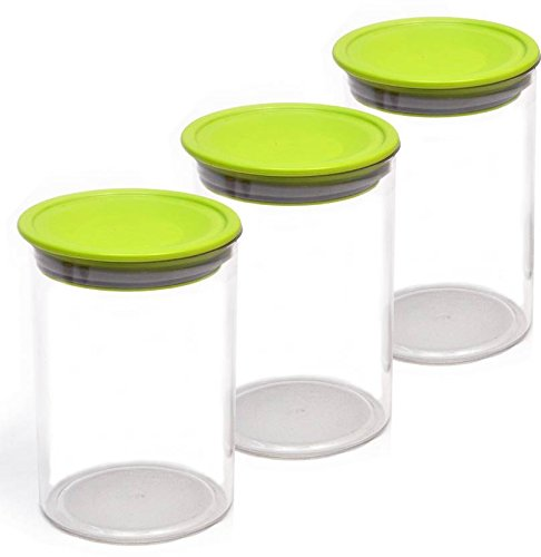 Star Work Acrylic Air Tight Dry Storage Box Kitchen Container Jar 900Ml Food Rice Pasta Pulses Container(Set of 3,Multicolor)