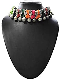 Aya Fashion Designer Multi-Color And Oxidized Silver Choker Necklace | Elegant Stylish And Unique, Party Wear...