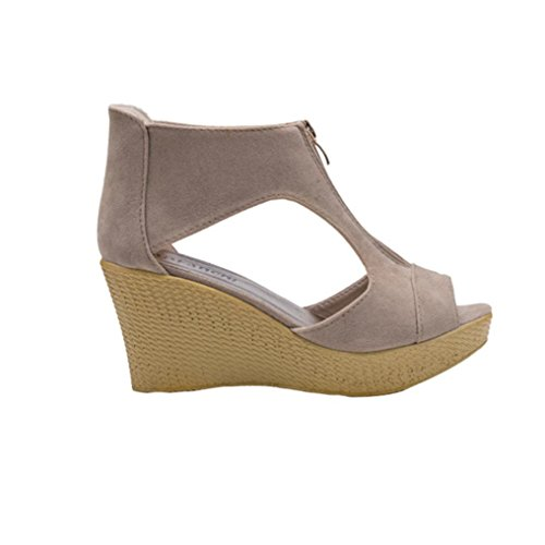 Koly_Scarpe Donna Estate sandali casuali della punta di pigolio della piattaforma incunea i pattini dei sandali Cachi