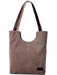 Hiigoo Simple Portable Bags Canvas Tote Bag Casual Shoulder Bag Bigger Handbag - B01HRS8TSC