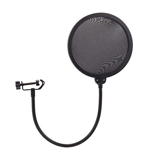 NuLink Mikrofon Pop Filter Dual Layer Mesh Shield mit Swivel Mount 360 FLEXIBLE Schwanenhals Clip Stabilisierende Arm -