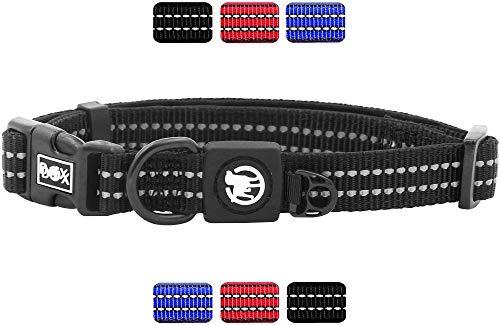 DDOXX Hundehalsband Nylon reflektierend Neopren gepolstert verstellbar | viele Farben & Größen | für kleine & große Hunde | Halsband Hund Katze Welpe | Katzen-Halsband | Schwarz, S -