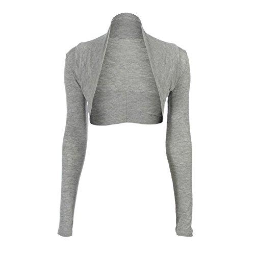 Fast Fashion Damen Plain Langen Ärmeln Plus Size Bolero Strickjacke Oben (Shirt Achselzucken Top Grau)