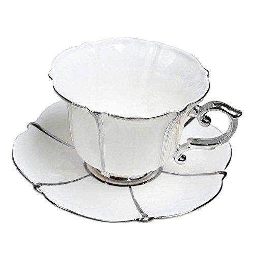 Porzellan Keramik Tee-Tasse Kaffeetasse, Weiß Und Silber