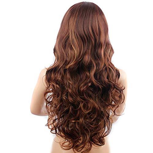 MMLC Braun perücke Haar Extension haarverlängerung haarteile Haar synthetische perücken wig 60cm (A)