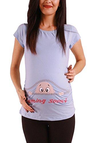 M.M.C. Coming Soon - Lustige witzige süße Umstandsmode/Umstandsshirt mit Motiv für die Schwangerschaft/T-Shirt Schwangerschaftsshirt, Kurzarm (Babyblau, Medium) (Shaper Super Footless)
