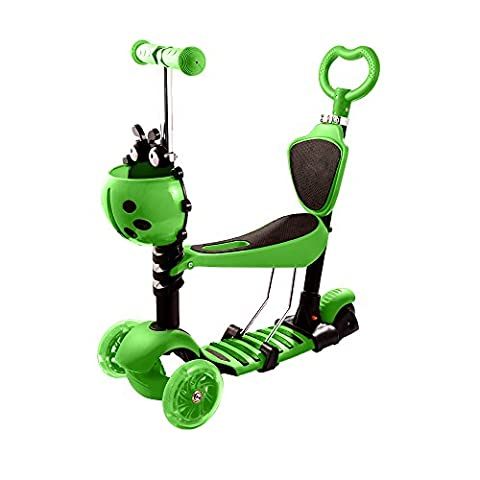 Ancheer Kids 5-in-1 Toddler Kick Scooter Baby Walker Stroller 3 Wheel Micro Mini Scooter with Removable Seat, LED Light up Wheels for Children Age16 Months to 6 Years Old (Green)