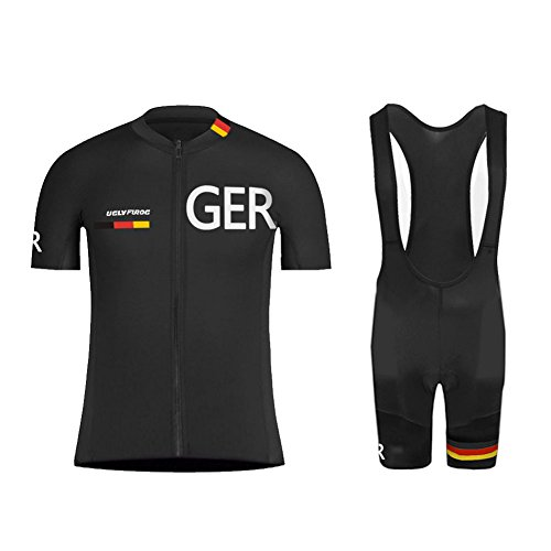 Uglyfrog Fahrradbekleidungt Frühling Herren Set Gemütlich Anzüge Warm Halten Kurzarm-Radsport-Trikot+Kurze Lätzchen Dicht with Gel Pad Breathable Classic Germany National Team