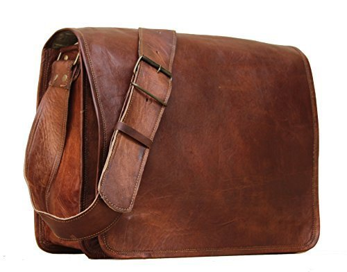 - 41Te UgwtJL - **S-Bazar** FF 18 Inch Vintage Handmade Leather Messenger Bag for Laptop Briefcase Satchel Bag