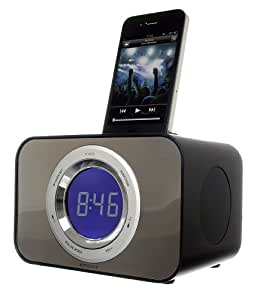 KitSound Clock Radio Réveil avec Station D'Accueil Compatible iPhone 3G, 3GS, 4, 4S, iPod Nano 6 et iPod Touch 4 - Noir - Livré avec Prise Anglaise