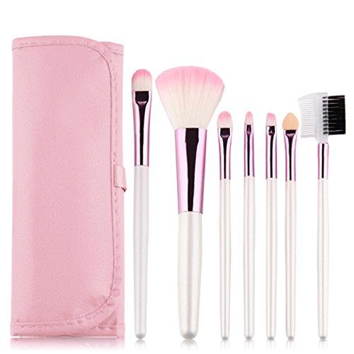 Bulary Pinceaux à Maquillage Lot 7pcs Poudre Blush Pinceau Eponge Sourcils Anti-Cerne