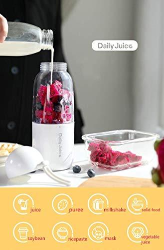 Tragbare Mini Blender 4pcs Klingen Entsafter Tasse USB 350 ML Smoothie Personal Mixer für Obst Babynahrung Milchshakes mit Deckel Obst Mixer (White)