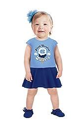 NCAA North Carolina Tar Heels Girls Toddler Short Sleeve Full Skirt Dress, 5 Tall, Carolina Blue
