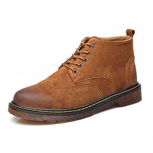 Uomo Inverno Taglia larga Stivali Martin Tenere caldo Scarpe da lavoro Scarpe casual Tempo libero Scarpe di pelle Aumenta le scarpe euro DIMENSIONE 38-46 brown