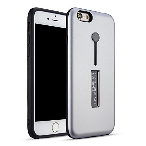 "MOONCASE iPhone 6 Plus/iPhone 6s Plus Coque, Ultra Slim Robuste PC Bumper Housse Dual Layer Antichoc avec Support Protection Kits Case pour iPhone 6 Plus/6s Plus 5.5"" Bleu Argent"
