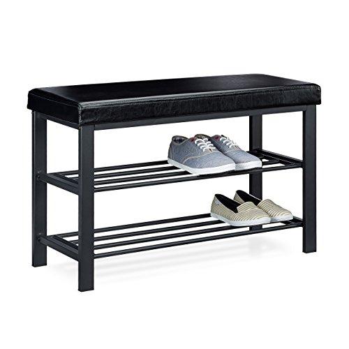 Relaxdays Schuhbank, offen, für 6-8 Paar Schuhe, Schuhregal zum Sitzen, Polsterung aus Kunstleder, HxBxT 49 x 81 x 32 cm, auf 2 Etagen, schwarz
