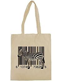 Lona de algodón bolsa de la compra con Black Zebra Barcode Graphic Illustration impresión.