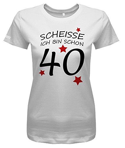 (Jayess Scheisse Ich Bin Schon 40 - Geburtstag - Damen T-Shirt in Weiss by Gr. M)
